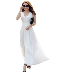 Wholesales Women's Elegance sleeveless Chiffon Strap Deep V-Neck Backless Floor Length Variety color Maxi Dresses