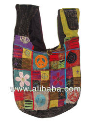 Cotton Razor Cut Patch Work Peace Sign Bag handcrafted in Nepal