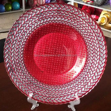 Red Charger Plates, Wedding Glass Plates, Mercury Glass Plates