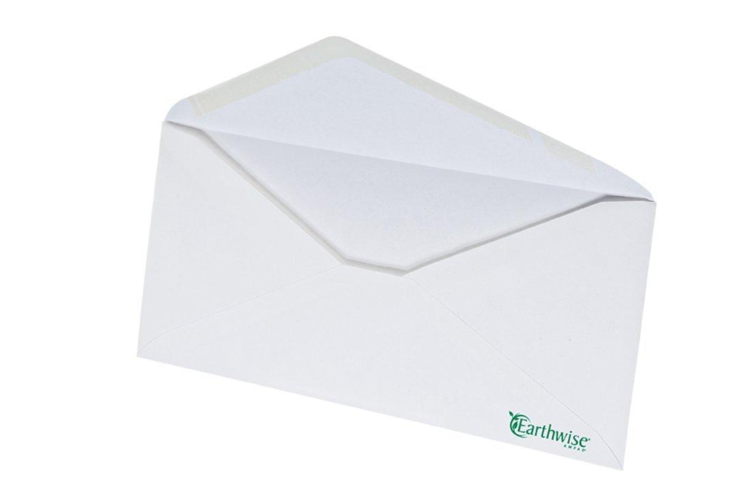 Ampad Envirotec Recycled #10 Envelopes, 20 Pound Paper, White Envelopes, 500 Envelopes Per Box, Gummed Closure with V-Flap (19384)