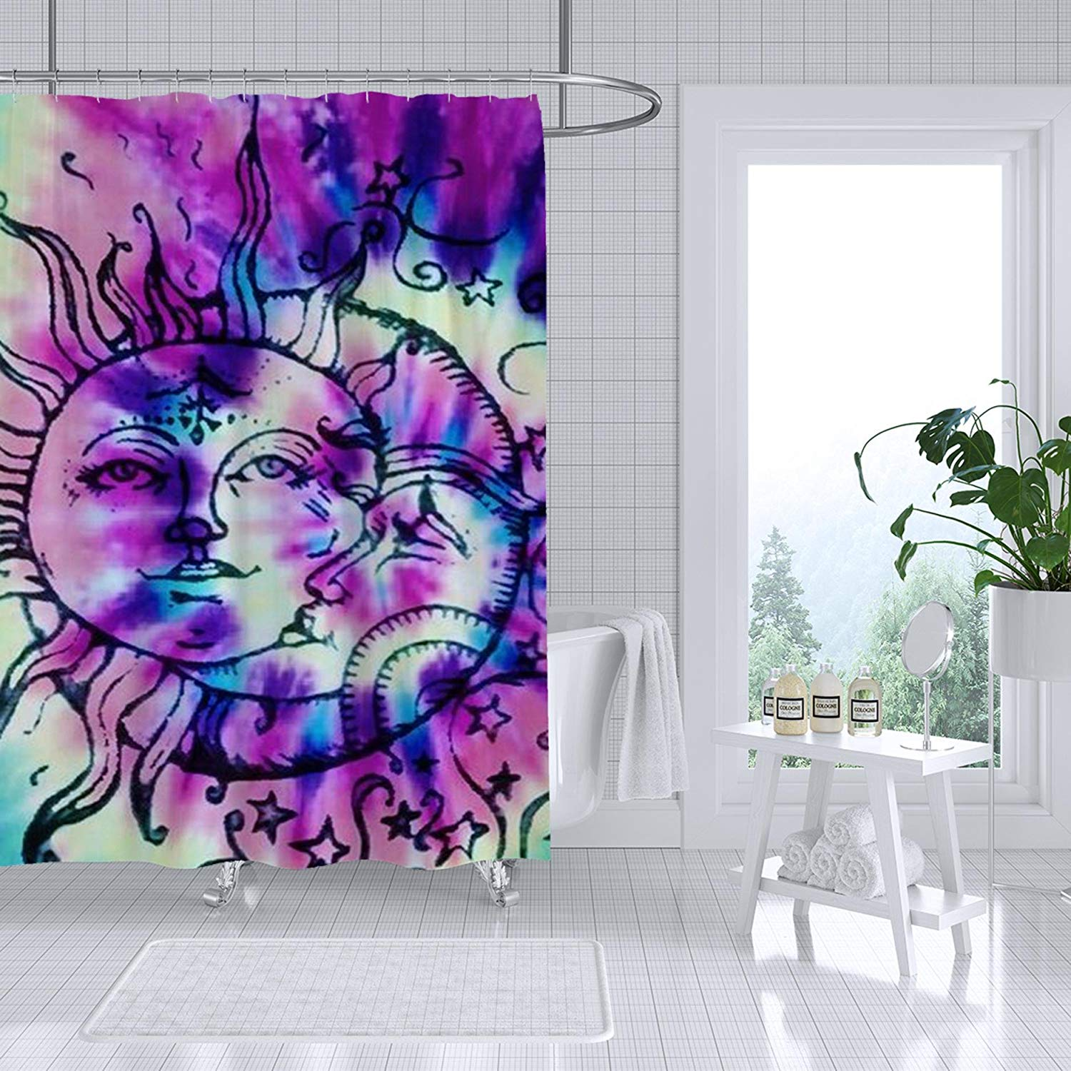 Adiucmcz Tie Dye Hippie Shower Curtain Fabric Bathroom Decor Set Waterproof Mildew With 12
