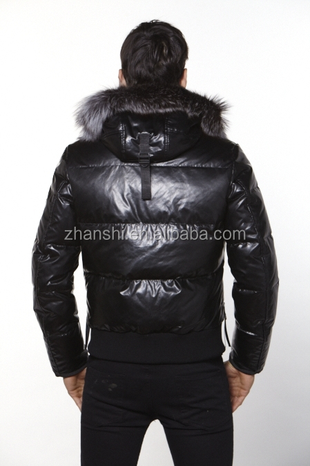 Hot Sale Winter Fashion Bomber Goose Down Coats Men Leather Jacket ...