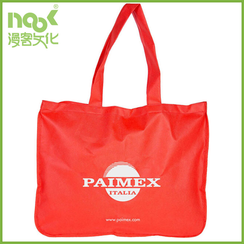 Light shining red polyester bag with long handle without gussets