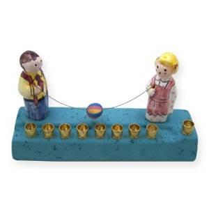 Clay Childrens Hanukkah Menorah, Boy and Girl Playing With Beach Ball Design