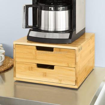 Bamboo Coffee Machine Stand And Coffee Pod Capsule Teabags