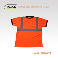 High quality hi vis security uniform red cheap safety reflective t-shirt