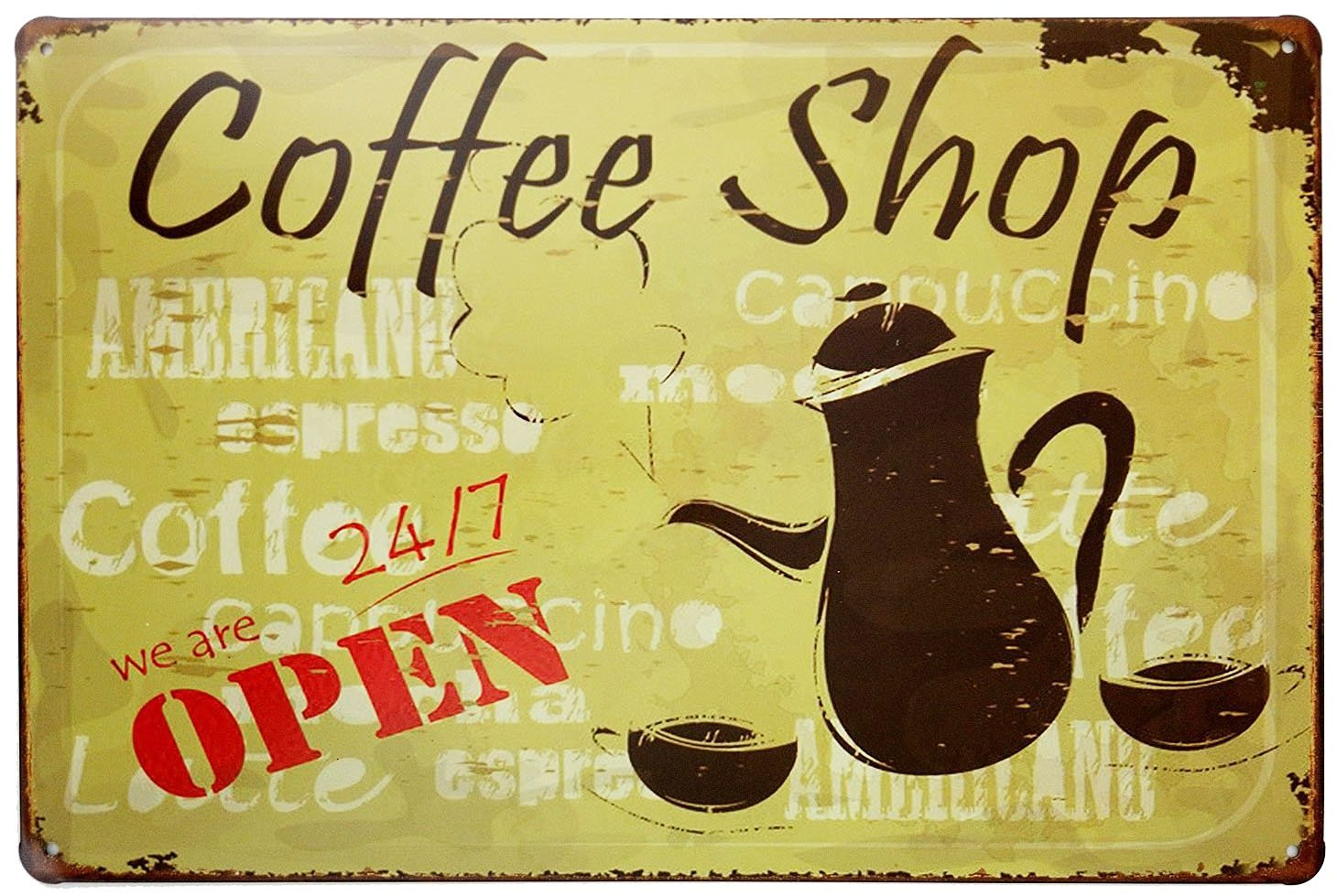 ERLOOD Coffee Shop We Are 24/7 Open Vintage Tin Sign Wall Decor 20 X 30 Cm