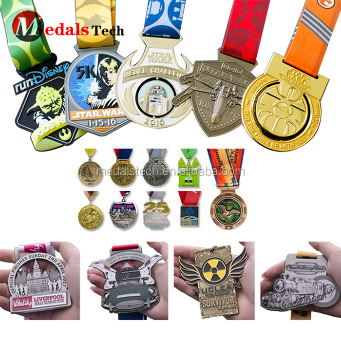 Factory Price Running Make  Soft Enamel Metal Medal With Ribbon
