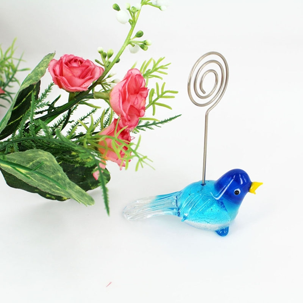 Murano glass favor blue glass bird place card holder for decoration