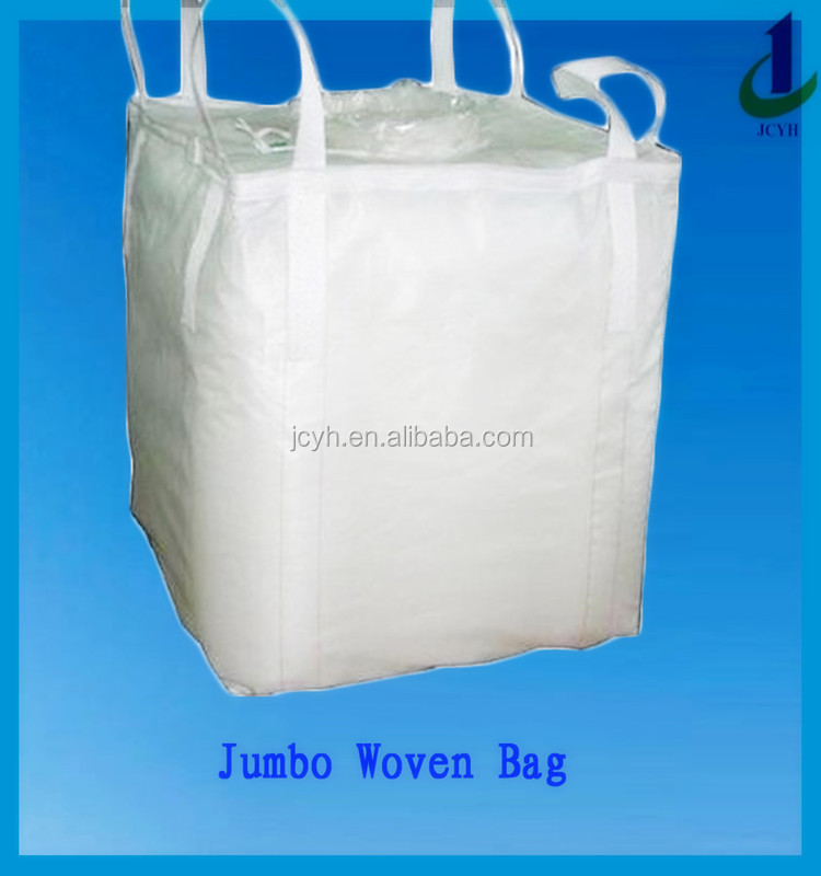 white color top open flat bottom 4 coross coner lifting loops UV stabilized PP woven container bag