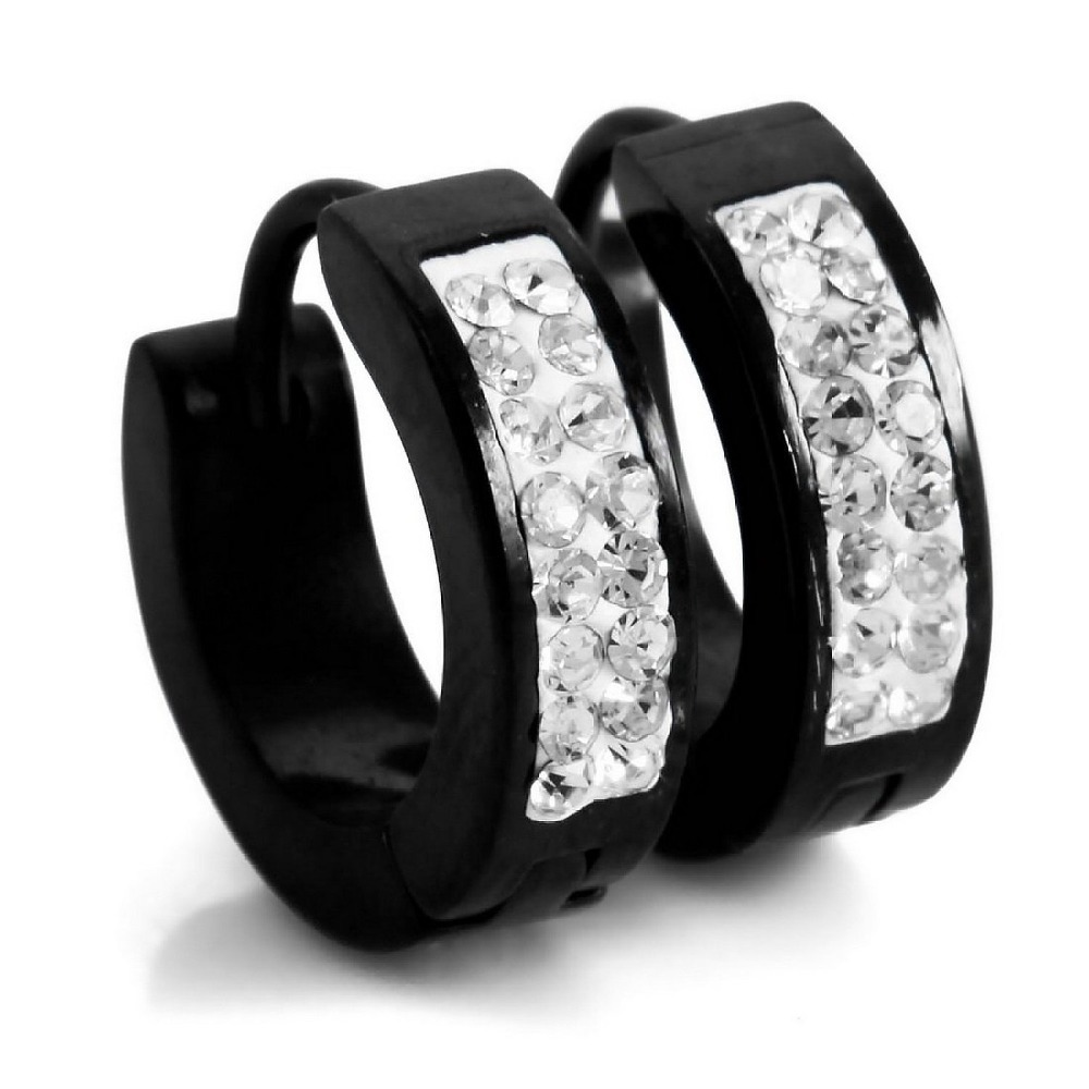 Get Quotations · Men's Stainless Steel Stud Hoop Huggie Earrings Cz Silver  Black Charm Elegant