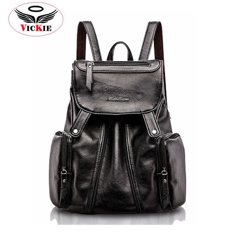 Famous  Brand Women Leather Backpacks Lady Backpack Fashion Cellege Bag Shoulder Bag For Young Korean Zipper Backpack Satchel 45