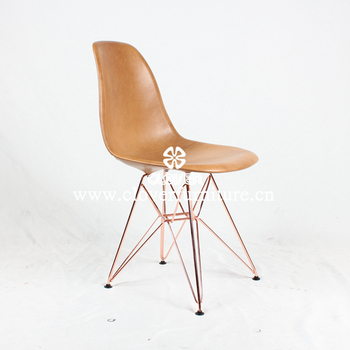 Merveilleux Modern Dining Chair Copper Legs And Leather Seat