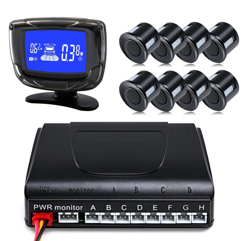 Car Reverse Sensor, LESHP Auto Car LED Parking Sensor with 8 Sensors Reverse Backup Parking Radar Alert Parking Sensors LED Display for All Cars.