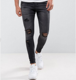Custom Mens Super Stretch Skinny Distressed Jeans with Heavy Knee Rips