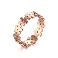 Rose gold plated flower design cute Trendy stainless steel jewelry for womens ladies girls Christmas gift ring SSR012