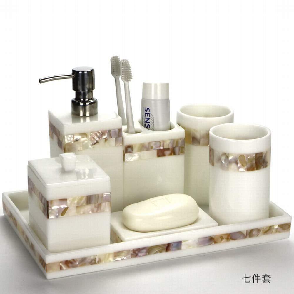 WU-Bathroom Suite Creative shell bath seven-piece continental resin vanity set bathroom toothbrush holder toothbrush cup