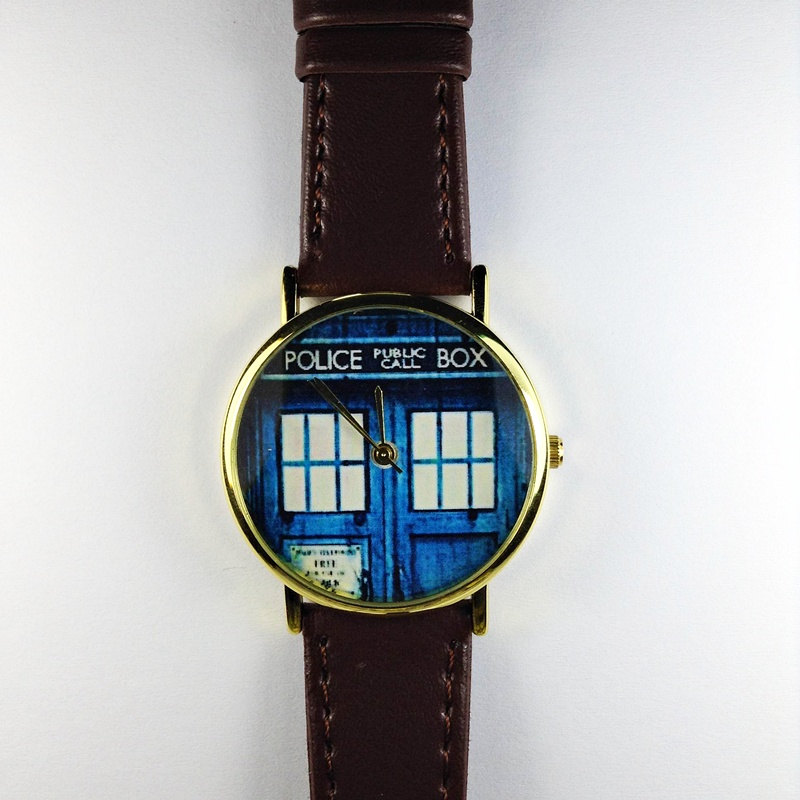 Doctor Who Tardis Vintage Style Mens Leather Watch