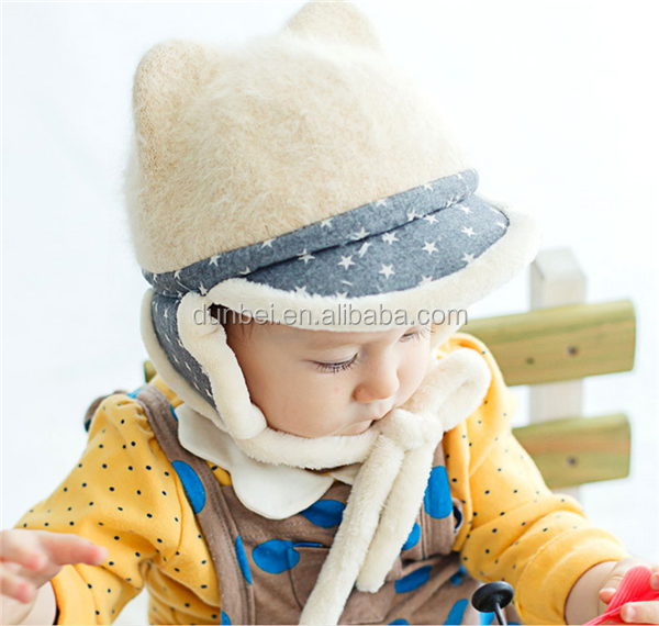 Wholesale factory custom 2015 new fashion animal ear baby kids funny winter hats