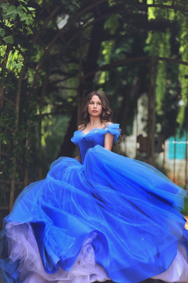 b09dfe722aa Cinderella Blue Long Prom Dress Ball Gown Off Shoulder Beaded Butterfly  Organza Evening Party Gowns Quinceanera