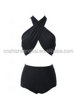 36209ce67d women lady stock hot sale cross front high waist bandage top wrap bikini  swimwear swimsuit bathing