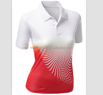 0efa88d5e47b 2018 New design ladies Sporty cool dry fit performance tie dye sublimation  Printed golf polo T