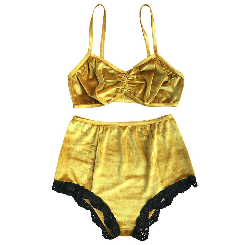 a7d46b3e49 Get Quotations · Youthny Women Velevt Two Piece High Waist Lace Trim Bottom Bikini  Swimsuit