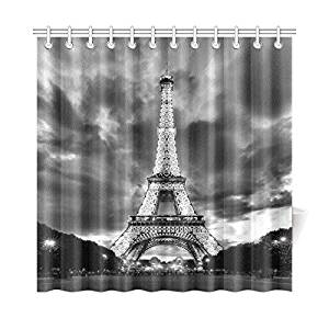 InterestPrint Cloudy Sky Home Decor, Paris Eiffel Tower Polyester Fabric Shower Curtain Bathroom Sets with Hooks 72 X 72 Inches