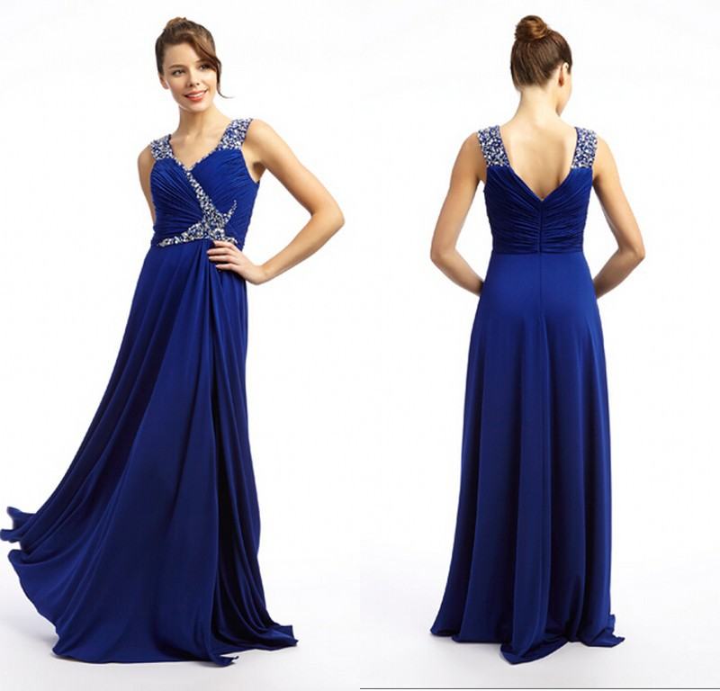 2015 Custom Made Dark Blue Prom Long Dresses Ruched Beading Top Chiffon Evening Dress