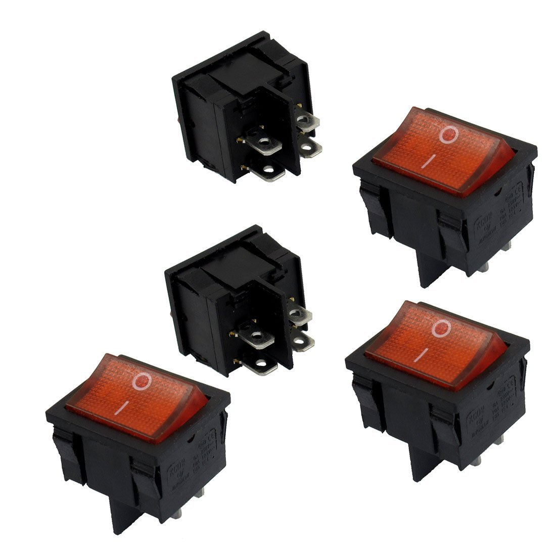 uxcell 5 Pcs 4 Pin DPST Red Neon Light On/Off Rocker Switch AC 6A/250V 10A/125V