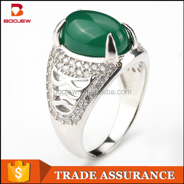 2016 New Fashion Green Stone One Finger Rings Wholesale 925 Silver