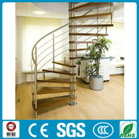 modern design indoor stainless steel oak wood spiral stairs design with painting color