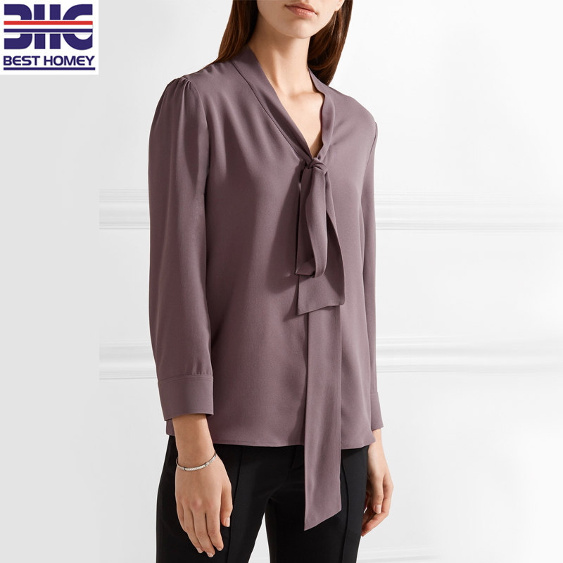 60023cd334cc8 Woman 100% silk pussy-bow crepe de chine long sleeve V neck design silk  blouse for ladies