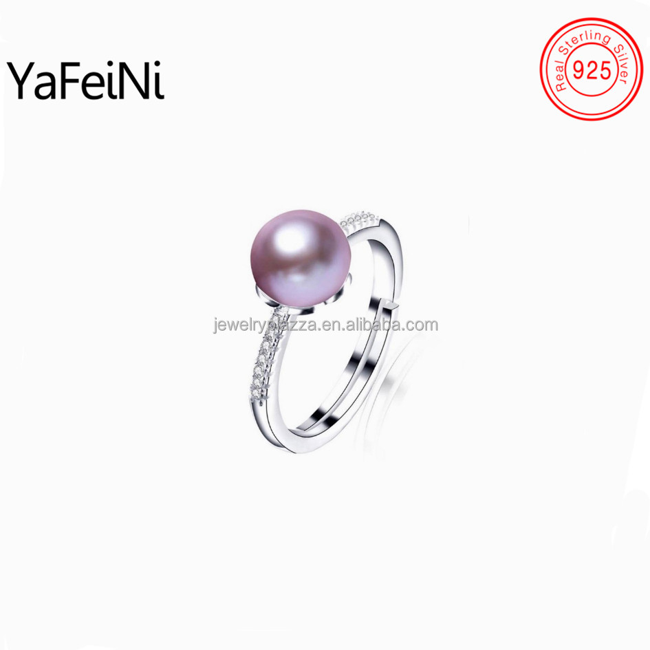 Latest design cultured natural pearl 925 sterling silver ring settings and mountings ,fine CZ diamond wedding pearl ring jewelry