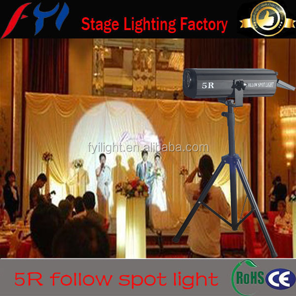 Stage professional equipment hmi 200w 5r mini follow spot light