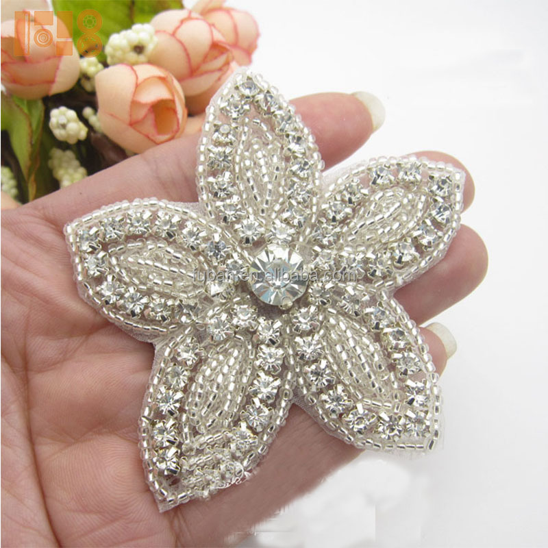 Fashion bridal applique trim with rhinestone for wedding dresses