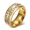 8mm Titanium 18K Gold Plated Stainless Steel High Polished Channel Set CZ Engagement ring