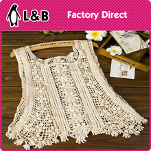 2016 ladies sexy top/waistcoat fashion styles embroidery polyester/cotton crochet lace vest