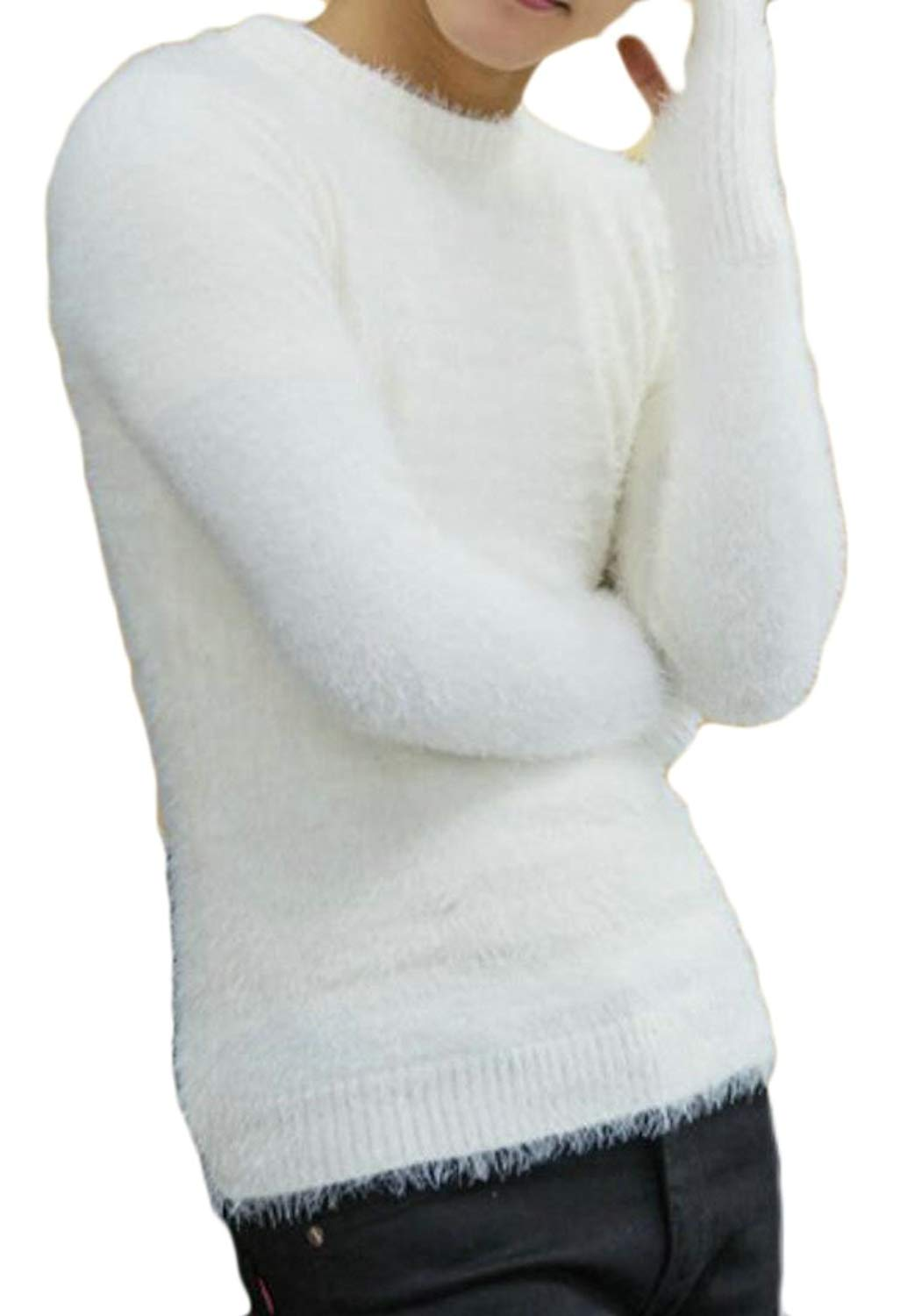 UUYUK Men Cowl Neck Thick Christmas Slim Fit Pullover Knit Sweater