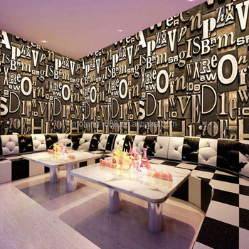 Bar Mural Wallpapers 3d Letters For Interior Wall Decoration
