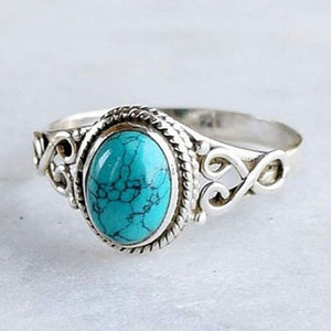 Middle East Jewelry Turquoise Ring Natural Gemstone Retro Wedding Ring