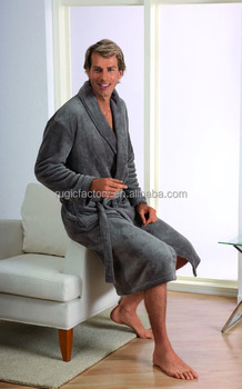 Mens Soft Coral Fleece Bath Robe Dressing Gown a8e54fc48