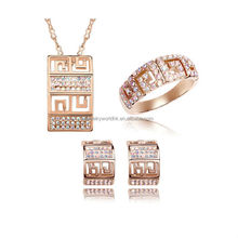 Hot selling gold jewelry set authentic austrian crystal 14k dubai women wholesale plated gold jewelry