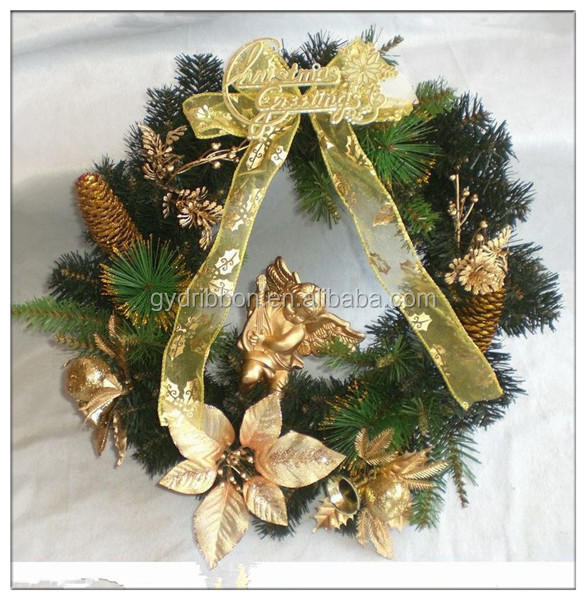40cm Artificial Pinecone Christmas Wreath/yellow Big Organza ...