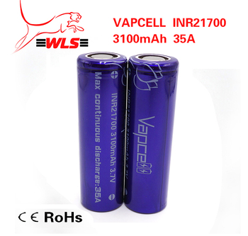 Rechargeable li ion battery 21700 3100mAh 35A VapCell 21700 battery 35A 3100mAh 21700 battery