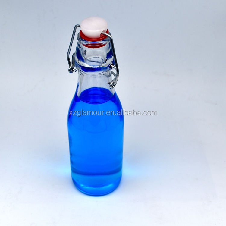 Swing top cap 250ml 8oz round glass bottle for drink or oil