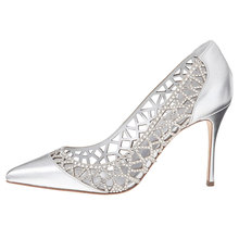 beautiful hollow out silver wedding shoes 2017 ladies dress shoes luxury