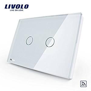 Livlo US/AU standard Product, Ivory White Crystal Glass Panel, AC 110~220V/50~60Hz Wireless Remote Home Light Switch VL-C302R-81