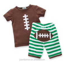 baby and toddler boys summer football applique outfits
