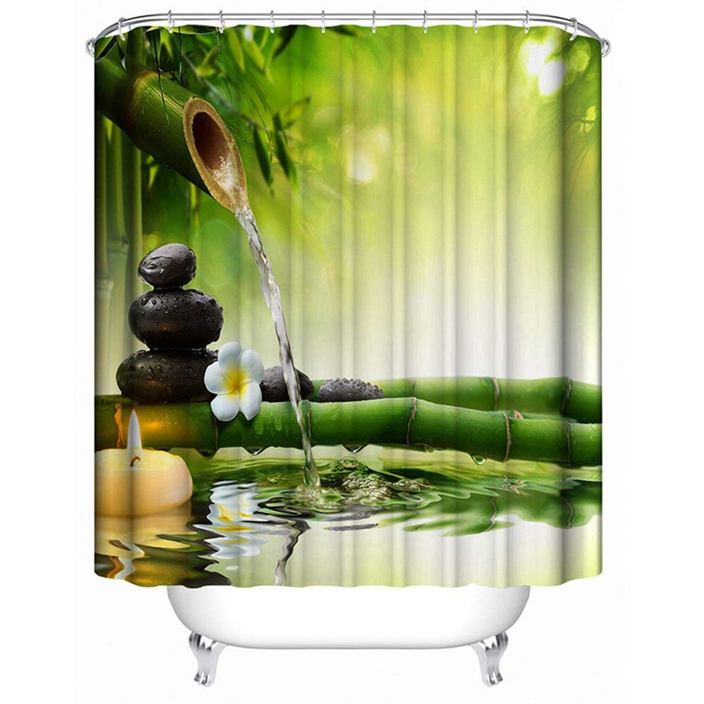 Get Quotations Ajingken Shower Curtain Printing Curtains Flowing Water Bamboo Waterproof Bathroom 59x70 Inches